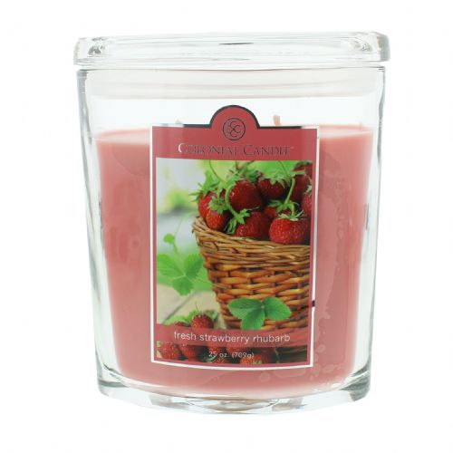 Colonial Candle Large Oval Jar Candle Strawberry Rhubarb fragrance candle